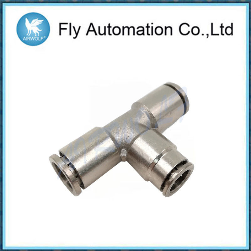 Three Connection Joint Pneumatic Tube Fittings Silvery Brass Tee Connector
