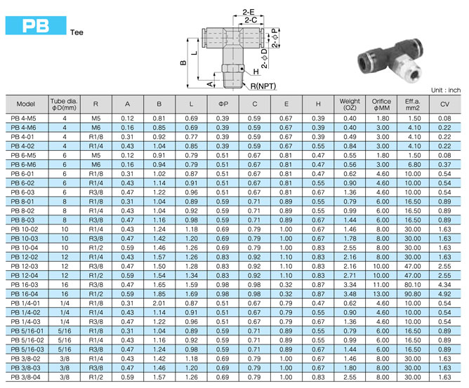 Rapido collegare PB Pisco Tee zinco ottone pneumatico Tube Fittings